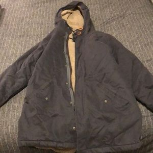 RVCA navy/tan hooded jacket - Large